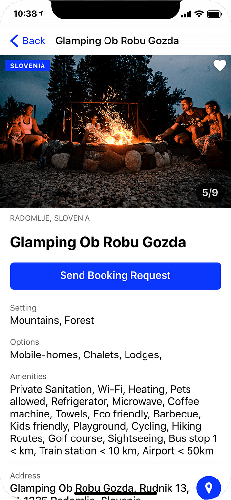 Glamping in Slovenia - details page, app screenshot