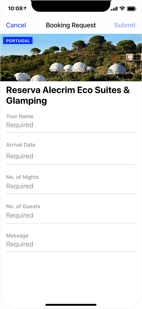 Glamping in Portugal - booking request, app screenshot