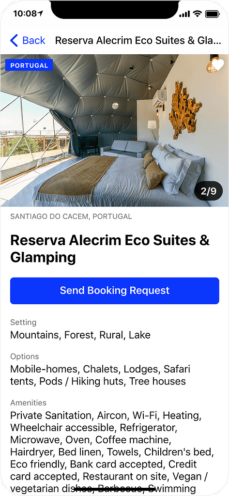 Glamping in Portugal - details page, app screenshot