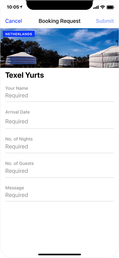 Glamping in The Netherlands - booking request app screenshot