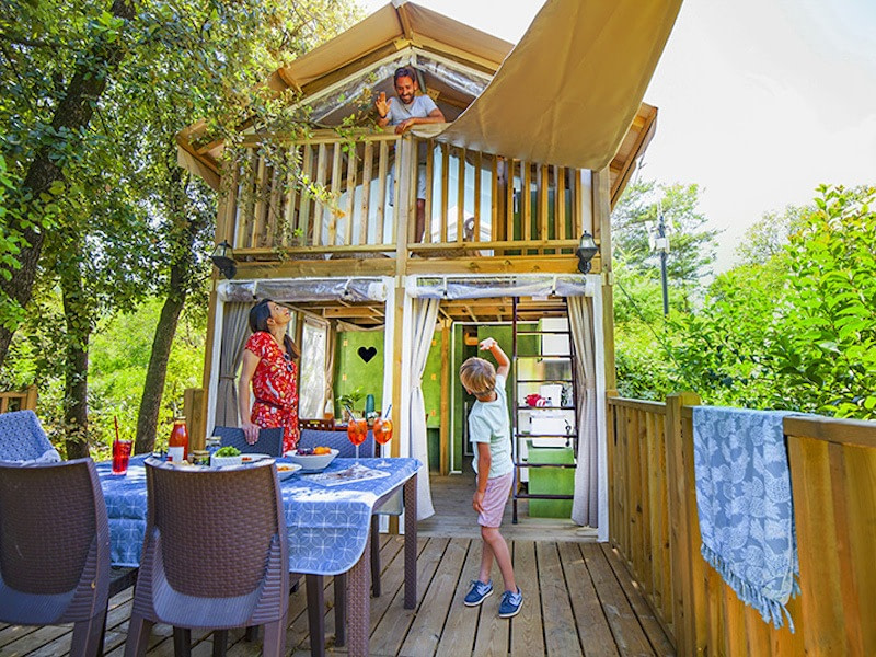 Glamping in France at Camping Les Cascades, Languedoc-Roussillon