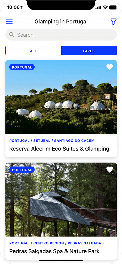 Glamping in Portugal - search results page, app screenshot